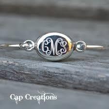monogram bracelet sterling silver oval engraved bangle bracelet