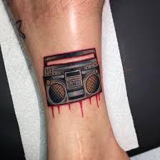 Lower Leg Tattoo Ideas 40 Boombox Tattoo Designs For Men Retro Ink Ideas