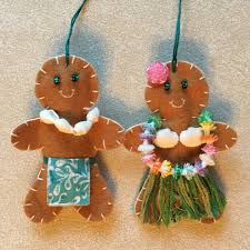 hawaiian gingerbread people christmas ornaments felt crafts