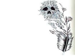 feather and skull inked