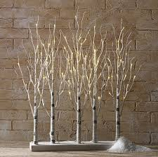 centerpieces table lighted white birch tree inside home