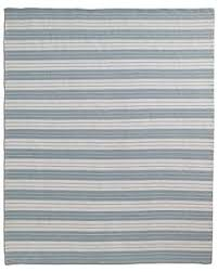 All Weather Outdoor Rugs Oxford Stripe Recycled Yarn Indoor Outdoor Rug Blue Pottery