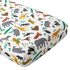 organic jungle animal crib fitted sheet the land of nod