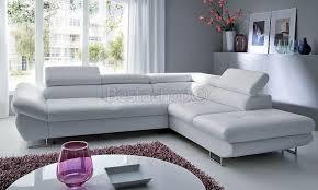 solde canapé cuir canapé d angle convertible lit avec coffre en simili cuir blanc onyx