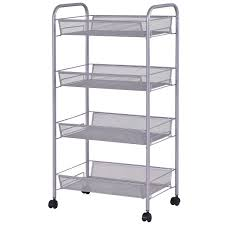 costway rakuten costway 4 tier storage rack trolley cart home