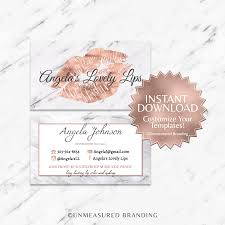 rose gold foil and marble lipsense and makeup business card template