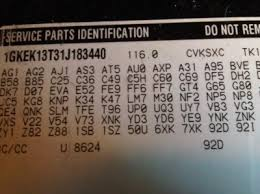 how to decifer glove box parts identification tag chevy tahoe
