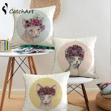 flowers cat cushion covers oil painting cushion cover linen beige