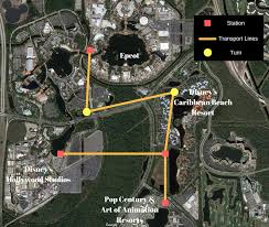 Walt Disney World Transportation Map by Rumor Skyway Gondola Transportation System Between Epcot And