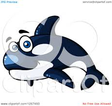 clipart of a cartoon happy blue whale mascot royalty free vector