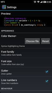 color themes for android themes cppdroid c c ide for android