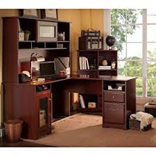 Amazoncom Cabot L Shaped Desk with Hutch in Harvest Cherry