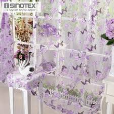 Purple Butterfly Curtains 1pcs Sheer Liftable Organza Embroidered Kitchen Curtains Roman