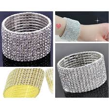 bangle bracelet with crystal images 2018 10 row shiny rhinestone elastic lady bangle stretch crystal jpg