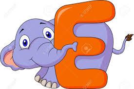 alphabet e with elephant cartoon royalty free cliparts vectors