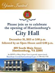 Invitation Card For Home Opening Ceremony New City Hall Project City Of Harrisonburg Va
