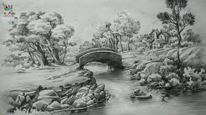 how to draw a easy landscape with pencil strokes pencil shading