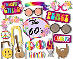 60 s hippie photo booth props kit 20 pack