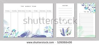 weekly planner template organizer schedule notes stock vector