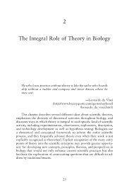 2 the integral role of theory in biology the role of theory in