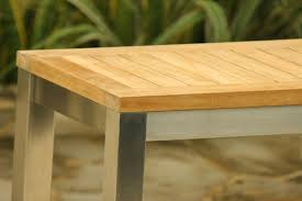 Teak Stainless Steel Outdoor Furniture by Teak Bench Set The Lombok Teak And Stainless Steel Bench Set