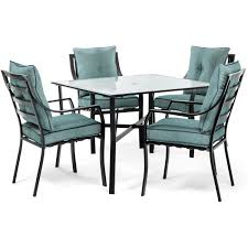 lavallette 5 piece dining set in ocean blue with table umbrella