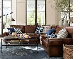 Leather Living Room Decorating Ideas by Best 25 Pottery Barn Leather Sofa Ideas On Pinterest Brown