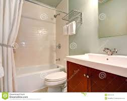 simple bathroom interior with tile wall trim stock photo image