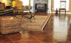 brown stain wall with varnished wood floor tile and chrome arc