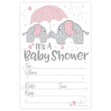 baby shower invitations pink elephant girl baby shower invitations 20 count