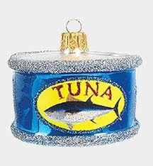 tuna fish in a can blown glass ornament