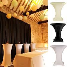 Spandex Table Cover White Black Round Based Stretch Bar Cocktail Lycra Dry Bar Spandex