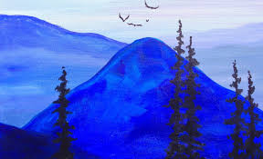 paint it blue easy mountains acrylic tutorial asl youtube