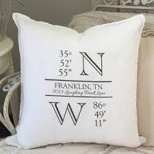 personalized pillow longitude latitude housewarming gift