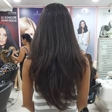 long thick black hair with layering resulting in a gorgeous v