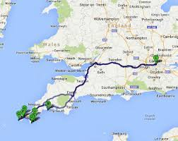 Road Trip Map The Great English Road Trip London To Cornwall Bruised