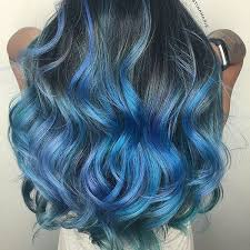 blue hair extensions half blue and black wavy hair extensions premium synthetic hair