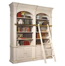 percier french country white double library bookcase with ladder
