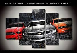 Car Room Decor Muscle Cars 5 Pcs Wall Art Canvas Framed Ready To Hang Shop For