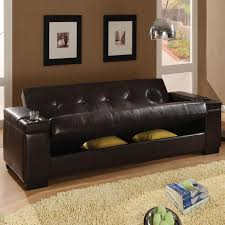 Futon Or Sleeper Sofa Amazing Of Futon Sleeper Sofa Brown Faux Leather Storage