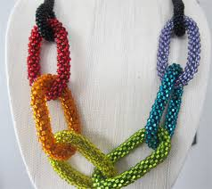 crochet necklace bead images Finished rainbow bead crochet necklace shiny happy world jpg