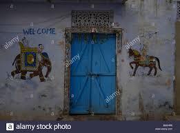 wall mural paintings by house doorway bundi rajasthan india stock stock photo wall mural paintings by house doorway bundi rajasthan india