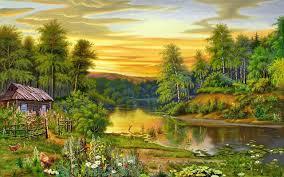 beautiful landscape nature trees river house 126571