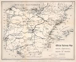 Map Of Spain And Portugal Official Railway Map Of Spain Portugal And South Of France 1905