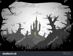black and white halloween background silhouette halloween black white poster spooky castle stock vector 494340466