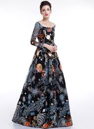 colorful dress black galaxy print floor length evening dress with colorful outer