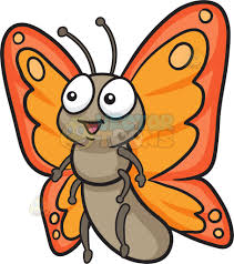 a butterfly with two tone orange wings clipart
