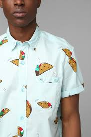urban outfitters the taco buttondown shirt in blue for men lyst