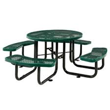 green metal outdoor table benches picnic tables picnic tables steel 46 quot round
