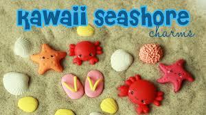 seashell flip flops polymer clay kawaii seashore charms tutorial crab starfish